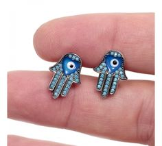 Nano Turquoise Evil Eye Hamsa Earrings - Unique Evil Eye Jewelry Designs.