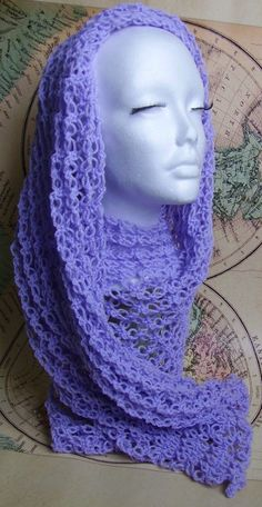 Must-have Spring Summer Lavender Scarf, Openwork Crochet. $70.00, via Etsy.