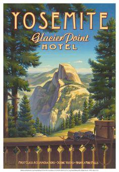 Giclee Print: Yosemite, Glacier Point Hotel Art Print by Kerne Erickson by Kerne Erickson : Yosemite California, California Travel, California Art, Yosemite Glacier Point, Yosemite National Park, National Parks, Vintage National Park Posters, Party Vintage, Vintage Ads