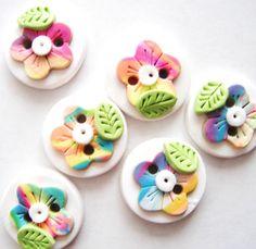 Button Rainbow Wild Flowers handmade polymer clay by digitsdesigns, $7.00