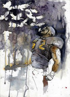 Watercolor Illustration of Mr. Ray Lewis of the Baltimore Ravens by Michael Pattison. He's back and unleashing some pain
