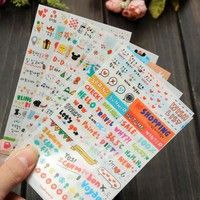 Wish | Lovely 6 Sheets Cute Scrapbook Diary Calendar Planner Decorative Paper Stickers