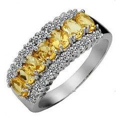Glittering 1.00 Carat Real Citrine Engagement Ring Band on Silver. #Capri #Jewelers #Arizona ~ www.caprijewelersaz.com  ♥