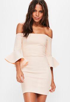 409e245276773 Missguided - Nude Bardot Fishnet Frill Bodycon Dress