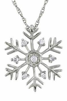 10K White Gold Diamond Accented Snowflake Pendant Necklace