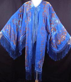 WEEKEND SALE Vintage DECO  Silk burnout velvet fringed boho kimono coat