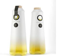 Olive oil, bottle, semi transparent, matte, cork