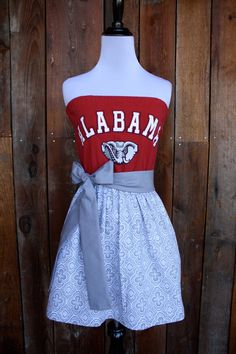 University of Alabama Roll Tide Strapless Game Day Dress - Size Small