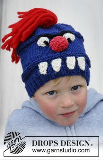 """Knitted DROPS monster hat with teeth, nose, eyes and hair in """"Merino Extra Fine"""". ~ DROPS Design"""