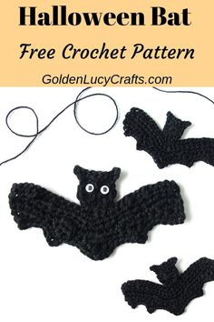 This crochet Bat applique is my next pattern for the Halloween series. This Bat applique would be perfect for your handmade Halloween costume, as a home decoration, embellishment for clothing and more! Crochet Bat, Crochet Pumpkin, Cute Crochet, Crochet Motif, Crochet Crafts, Crochet Projects, Crochet Appliques, Crochet Garland, Crochet Birds