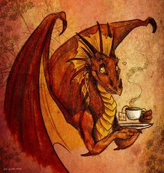 When you are Dragon Butt, have a cup of Tea (pun,dragon,tea,caffeine,drawing,art,cute)