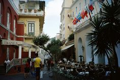 A Caffe on Capri Island, Italy - Capri is a glamorous Italian island of Western Mediterranean. It is a favorite holiday destination of many celebrities as it offers some truly wonderful historical attractions and nature combined with easy going, very relaxed lifestyle.