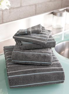 Embroidered turquoise thread towels | Simons Maison | Shop Jacquards and Embroidery Bath Towels Online in Canada | Simons