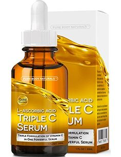 Eye Skin Care Pure Body Naturals LAscorbic Acid Triple C Serum for Face ** Find out more about the great product at the image link. Best Facial Toner, Facial Serum, Anti Aging Serum, Facial Skin Care, Anti Aging Skin Care, Vitamin C For Face, Best Vitamin C Serum, Best Skincare Products, Pure Products