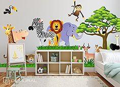 Wandtattoo Fürs Kinderzimmer, Baby. Sticker Aufklebr Tiere, Safari - SDB1 (M - 125 x 70 cm)