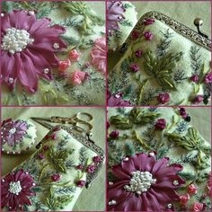 Tutorial : embroidered purse  ~~~~~  Silk ribbon embroidery