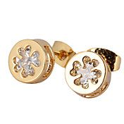 Gold plated bronze zircon stud Earrings ERZ00... – USD $ 2.99