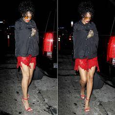 Rihanna wearing Cav Empt jacket, Meadham Kirchhoff dress, Manolo Blahnik sandals.