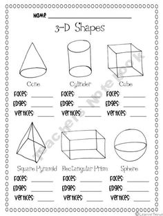 math worksheet : 1000 images about shape space and measure on pinterest  3d  : Math 3d Shapes Worksheet