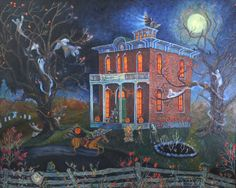 "halloween folk art paintings | Contemporary Painting - ""Happy Halloween"" (Original Art from Lisle ..."