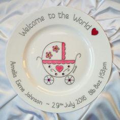 Plate for New Baby Bubble pram Handpainted Christening Plate