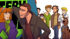 Scooby Natural, Winchester + Case, and the Scooby gang Castiel, Supernatural Crossover, Supernatural Cartoon, Supernatural Drawings, Supernatural Pictures, Supernatural Fan Art, Supernatural Imagines, Supernatural Wallpaper, Winchester Supernatural