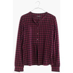 MADEWELL Flannel Market Popover Shirt in Gingham Check ($82) ❤ liked on Polyvore featuring tops, dark cabernet, purple gingham shirt, flannel shirts, peasant shirt, gingham print shirt and purple top