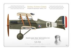 """Royal Flying Corps (WW1)Number 56 Squadron. France, 1917 Major James """"Mac"""" McCudden (vc)1895 - 1918. Credited with 57 victories"""