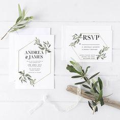elegant wedding invitations/ rustic chic wedding invitations/ olive leaf spring wedding invitations/ printable minimalist rustic spring wedding invitations/ customization service wedding invitations