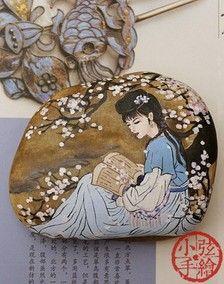 【小弦石头铺】唯花解语【2】 创意手绘石头礼物 摆设