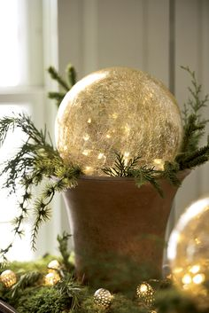 LED Gazing Globes Crackled glass globes glow with magically soft silvery light. Long-lasting, efficient LED bulbs are safe for use with in dried arrangements Country Christmas, Outdoor Christmas, All Things Christmas, Winter Christmas, Christmas Home, Christmas Lights, Christmas Books, Crafts For Teens To Make, Diy And Crafts