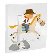 interrupteur décoré - thème cowboy - cheval - chambre enfant - decoloopio