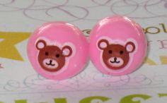 Brown Bear On Pink Stud Earrings Tiny Kawaii Post by JadeDumpling, $5.00