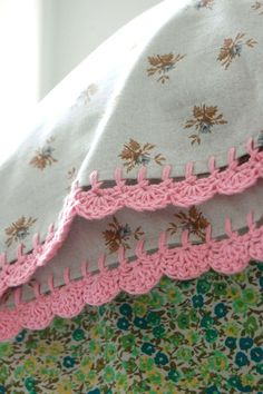 pillowcase with crochet trim   Tweedy Rose by rosehip on Etsy, $32.00