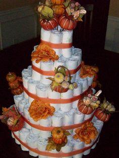 Fall Diaper Cake: Little Pumpkin themed Baby Shower Baby Shower Diapers, Baby Shower Cakes, Baby Shower Themes, Baby Shower Decorations, Shower Ideas, Baby Shower Fall, Fall Baby, Baby Boy Shower, Baby Shower Gifts