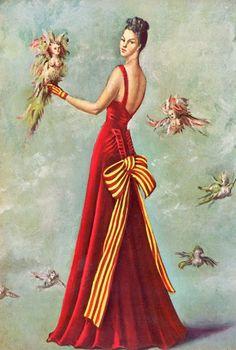 Leonor Fini illustration of Schiaparelli design - pour Harper's Bazaar 1939