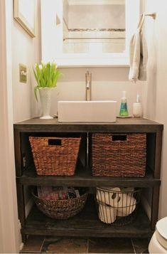 meuble-salle-bains-pas-cher-bois-design-rustique-vasque-blanc meuble salle de bains pas cher