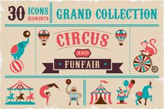 Circus & Funfair icons  templates by Marish on Creative Market