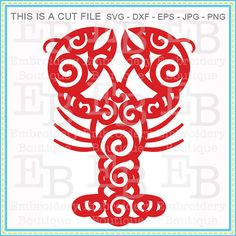 Swirly Crawfish SVG - This design is to be used on an electronic cutting machine. Instant Download