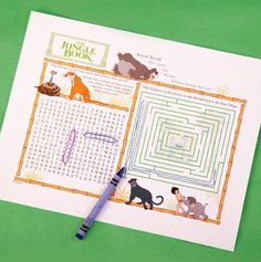 The Jungle Book Activity Sheet. #BareNecessities