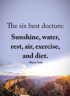 Quotes The Six best doctors Sunshine, water, rest, air, exercise, and diet.