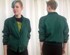 Vintage 1980's green and black striped varsity by trashedbytime, $50.00