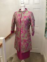 Stunning Pink And Green  Dress with Coat size 12 stand out at a wedding