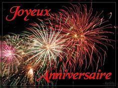 Feu d'artifice avec le message: Joyeux Anniversaire!