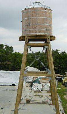 Wood Water Storage Tanks with Wood or Steel Tower #woodentowergarden