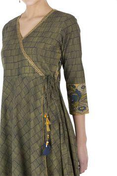 Green hand block kurta from our Madhubani Collection with kalamkari peacock patterns. Shop now at faridagupta.com. Rs.2250 #indianwear #cotton #blockprint #indianwear #ethnic #ethnicwear
