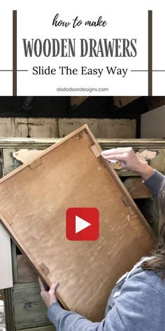Adding paste wax to the bottoms and slides of the wooden drawers can help them slide easier by creating a slick, smooth surface on the wood. Learn how this easy furniture repair can save you much frustration in this video tutorial on the blog. #dododsondesigns #woodendrawers #furniturerepair Diy Furniture Flip, Do It Yourself Furniture, Furniture Repair, Repurposed Furniture, Furniture Makeover, Vintage Furniture, Dresser Drawer Slides, Old Dresser Drawers, Wooden Drawers