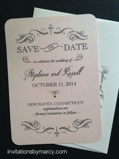 Save the Date. Gorgeous bahama shimmer paper with raised black ink. Invitationsbymarcy.com
