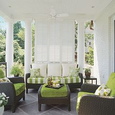Use shutters for shade on the porch.