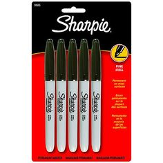 Sharpie Permanent Markers, Fine Tip, Black, 5pk. black or red colors